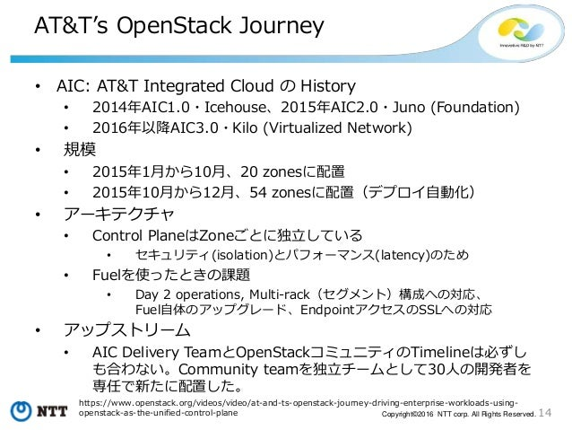 14Copyright©2016 NTT corp. All Rights Reserved. AT&T's OpenStack Journey • AIC: AT&T Integrated Cloud の History • 2014年AIC...