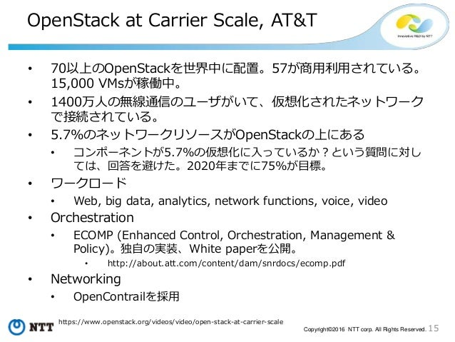 15Copyright©2016 NTT corp. All Rights Reserved. OpenStack at Carrier Scale, AT&T • 70以上のOpenStackを世界中に配置。57が商用利用されている。 15,...