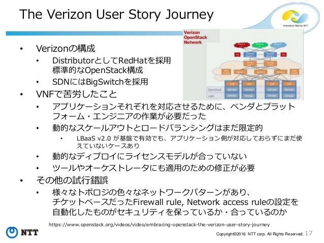 17Copyright©2016 NTT corp. All Rights Reserved. The Verizon User Story Journey • Verizonの構成 • DistributorとしてRedHatを採用 標準的な...