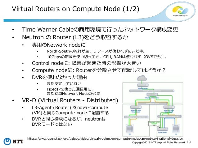 19Copyright©2016 NTT corp. All Rights Reserved. Virtual Routers on Compute Node (1/2) • Time Warner Cableの商用環境で行ったネットワーク構成...