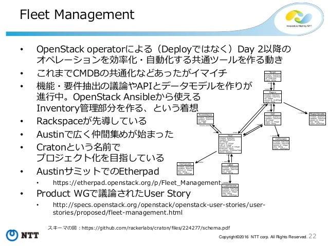 22Copyright©2016 NTT corp. All Rights Reserved. Fleet Management • OpenStack operatorによる(Deployではなく)Day 2以降の オペレーションを効率化・自...