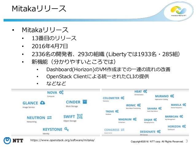 3Copyright©2016 NTT corp. All Rights Reserved. Mitakaリリース • Mitakaリリース • 13番目のリリース • 2016年4月7日 • 2336名の開発者、293の組織 (Liberty...