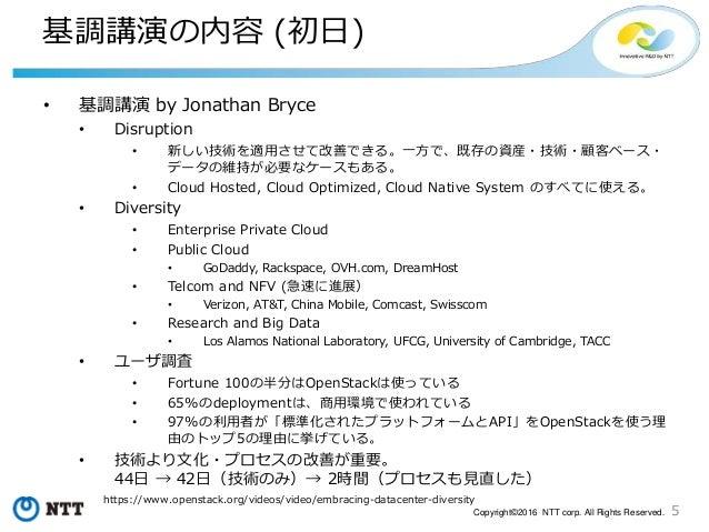 5Copyright©2016 NTT corp. All Rights Reserved. 基調講演の内容 (初日) • 基調講演 by Jonathan Bryce • Disruption • 新しい技術を適用させて改善できる。一方で、既...
