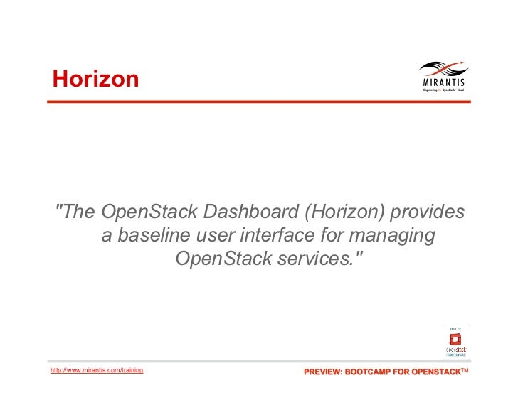 "Horizon ""The OpenStack Dashboard (Horizon) provides      a baseline user interface for managing               OpenStack se..."