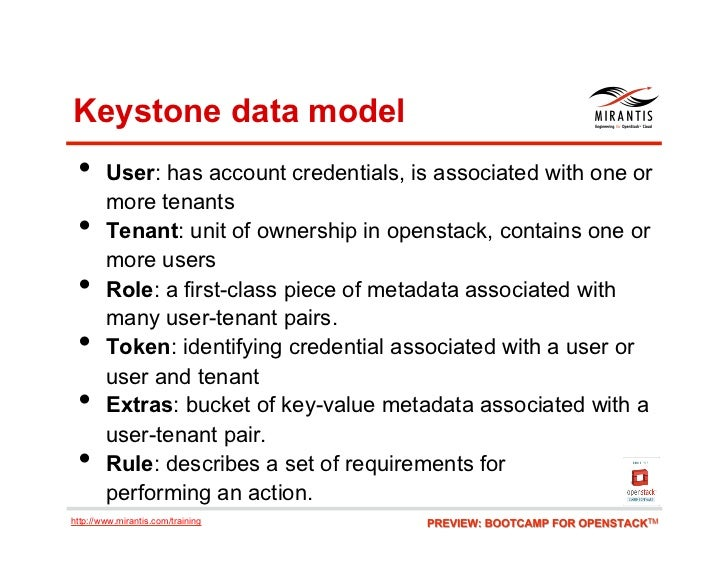 Keystone data model • User: has account credentials, is associated with one or        more tenants •     Tenant: unit of...