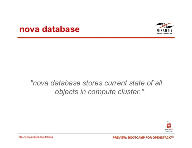 """nova database          """"nova database stores current state of all                 objects in compute cluster.""""http://www.m..."""