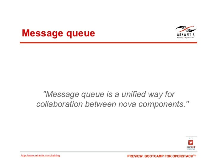 """Message queue              """"Message queue is a unified way for            collaboration between nova components.""""http://ww..."""