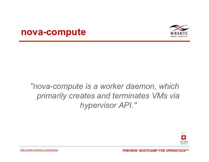 "nova-compute        ""nova-compute is a worker daemon, which          primarily creates and terminates VMs via             ..."