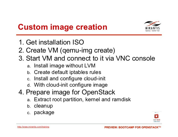 Custom image creation 1. Get installation ISO 2. Create VM (qemu-img create) 3. Start VM and connect to it via VNC cons...