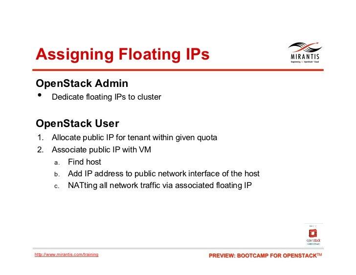 Assigning Floating IPsOpenStack Admin •     Dedicate floating IPs to clusterOpenStack User 1. Allocate public IP for ten...