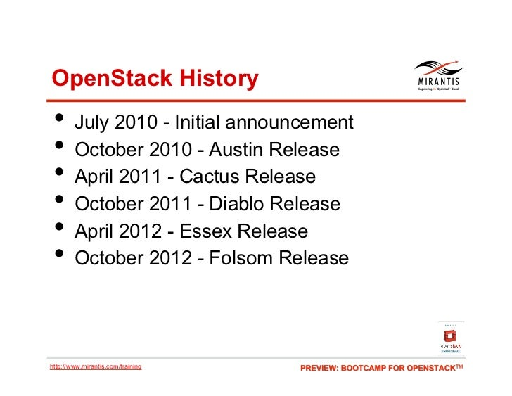 OpenStack History • July 2010 - Initial announcement • October 2010 - Austin Release • April 2011 - Cactus Release • O...