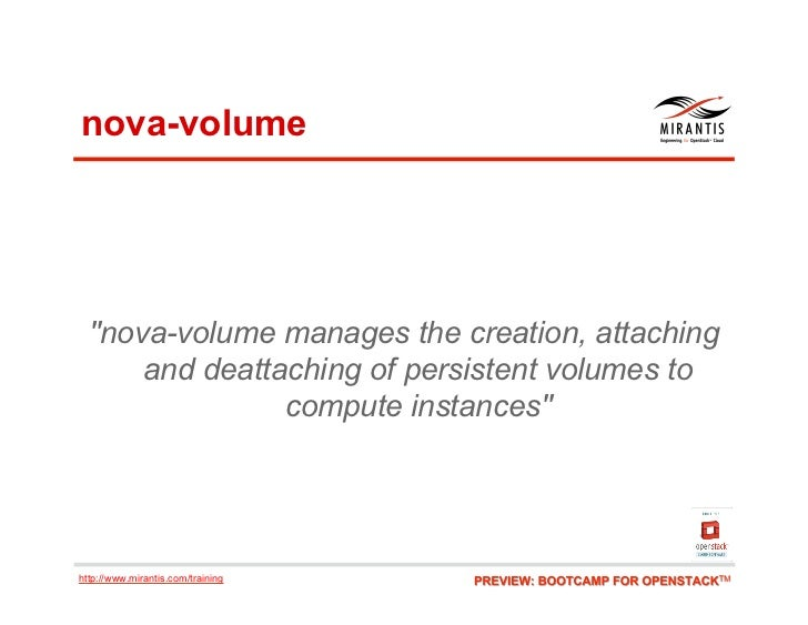 """nova-volume  """"nova-volume manages the creation, attaching      and deattaching of persistent volumes to                com..."""
