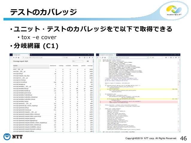 46Copyright©2019 NTT corp. All Rights Reserved. • ユニット・テストのカバレッジをで以下で取得できる • tox –e cover • 分岐網羅 (C1) テストのカバレッジ