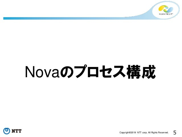 5Copyright©2019 NTT corp. All Rights Reserved. Novaのプロセス構成