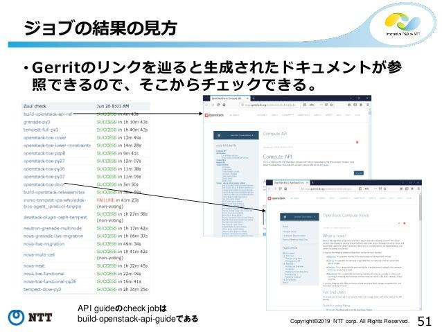 51Copyright©2019 NTT corp. All Rights Reserved. • Gerritのリンクを辿ると生成されたドキュメントが参 照できるので、そこからチェックできる。 ジョブの結果の見方 API guideのchec...