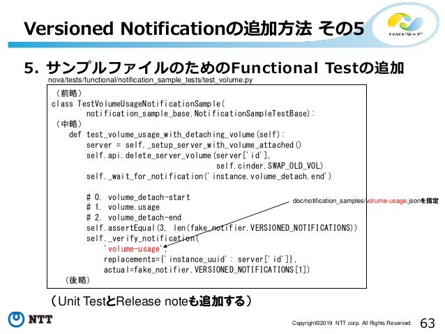 63Copyright©2019 NTT corp. All Rights Reserved. 5. サンプルファイルのためのFunctional Testの追加 Versioned Notificationの追加方法 その5 (Unit Te...