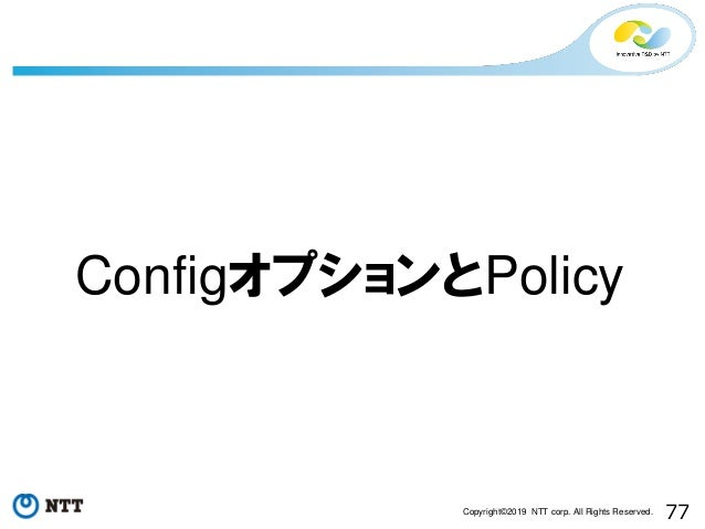 77Copyright©2019 NTT corp. All Rights Reserved. ConfigオプションとPolicy