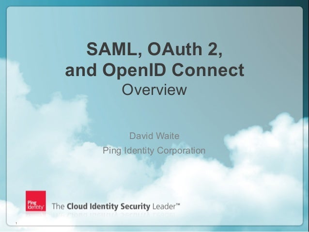 Copyright ©2012 Ping Identity Corporation. All rights reserved.1SAML, OAuth 2,and OpenID ConnectOverviewDavid WaitePing Id...