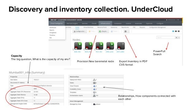 Discovery and inventory collection. UnderCloud Export Inventory in PDF CVS format PowerFull Search Provision New baremetal...