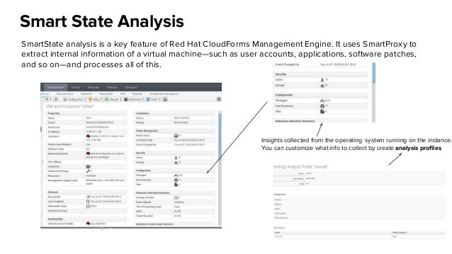 Smart State Analysis SmartState analysis is a key feature of Red Hat CloudForms Management Engine. It uses SmartProxy to e...