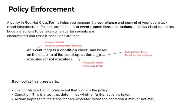 Policy Enforcement A policy in Red Hat CloudForms helps you manage the compliance and control of your openstack cloud infr...