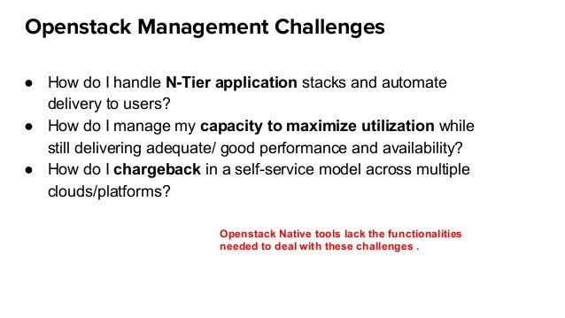 Openstack Management Challenges ● How do I handle N-Tier application stacks and automate delivery to users? ● How do I man...