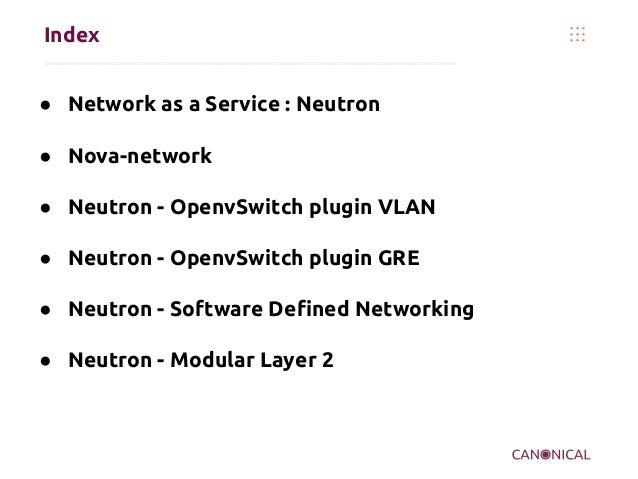 Index ● Network as a Service : Neutron ● Nova-network ● Neutron - OpenvSwitch plugin VLAN ● Neutron - OpenvSwitch plugin G...
