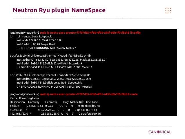 Neutron Ryu plugin NameSpace  janghoon@network:~$ sudo ip netns exec qrouter-f7f07d55-4fd6-4f95-a45f-d6b1f0cf8d18 ifconfig...