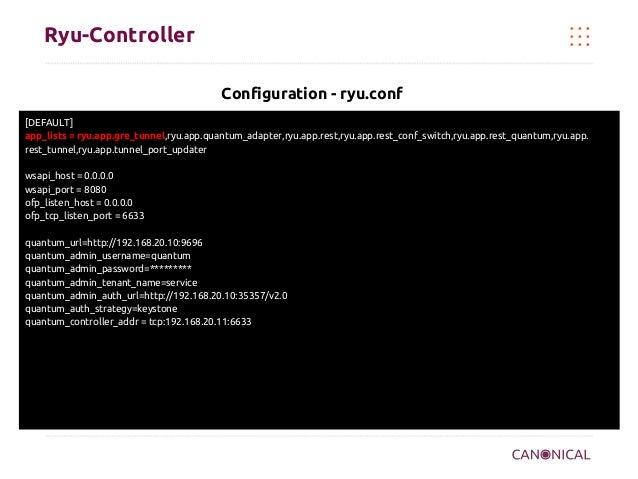 Ryu-Controller Configuration - ryu.conf [DEFAULT] app_lists = ryu.app.gre_tunnel,ryu.app.quantum_adapter,ryu.app.rest,ryu....