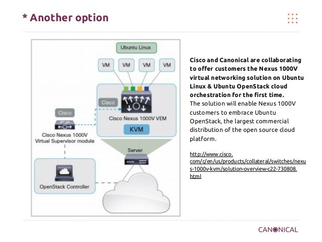 * Another option  Cisco and Canonical are collaborating to offer customers the Nexus 1000V virtual networking solution on ...