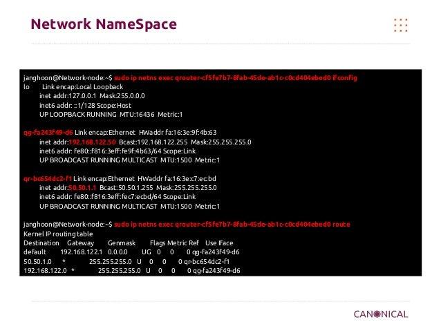 Network NameSpace  janghoon@Network-node:~$ sudo ip netns exec qrouter-cf5fe7b7-8fab-45de-ab1c-c0cd404ebed0 ifconfig lo Li...