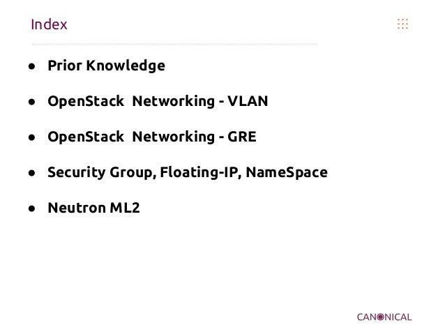 Index ● Prior Knowledge ● OpenStack Networking - VLAN ● OpenStack Networking - GRE ● Security Group, Floating-IP, NameSpac...