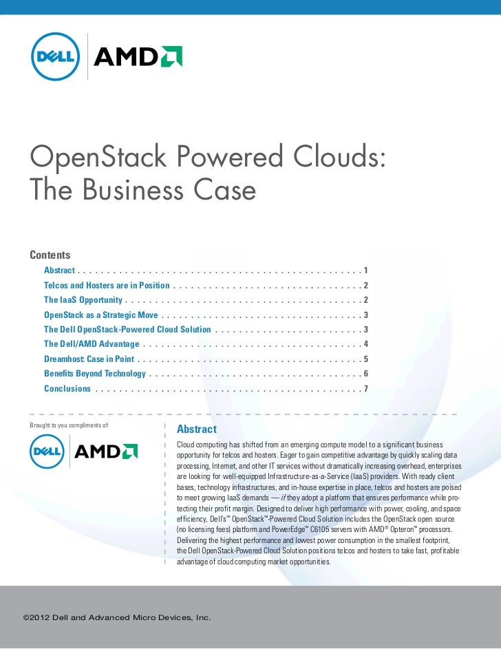 OpenStack Powered Clouds: The Business Case Contents Abstract. .  .  .  .  .  .  .  .  .  .  .  .  .  .  .  .  .  .  .  ....