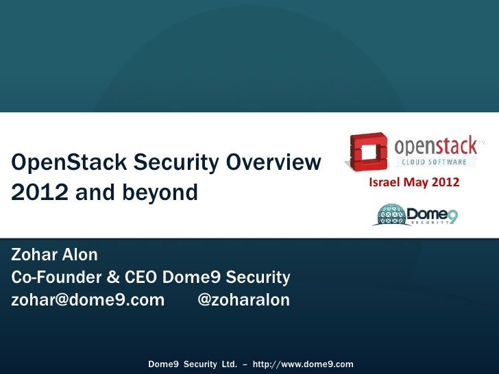 Israel May 2012OpenStack Security Overview                                                            Israel May 20122012 ...