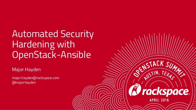 Automated Security Hardening with OpenStack-Ansible