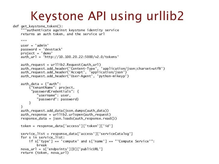 Keystone API using urllib2def get_keystone_token():