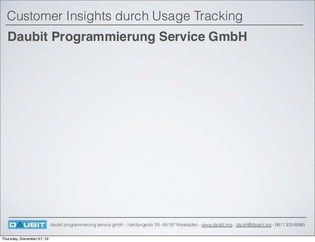 Customer Insights durch Usage Tracking  Daubit Programmierung Service GmbH                            daubit programmierun...