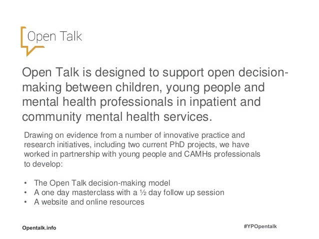 Welcome and introductions; 4. Open Talk ...