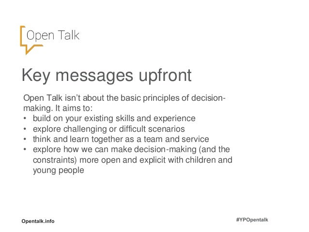 Open Talk - Decision Making with young people: Children and Young People's Mental Health Conference 2017