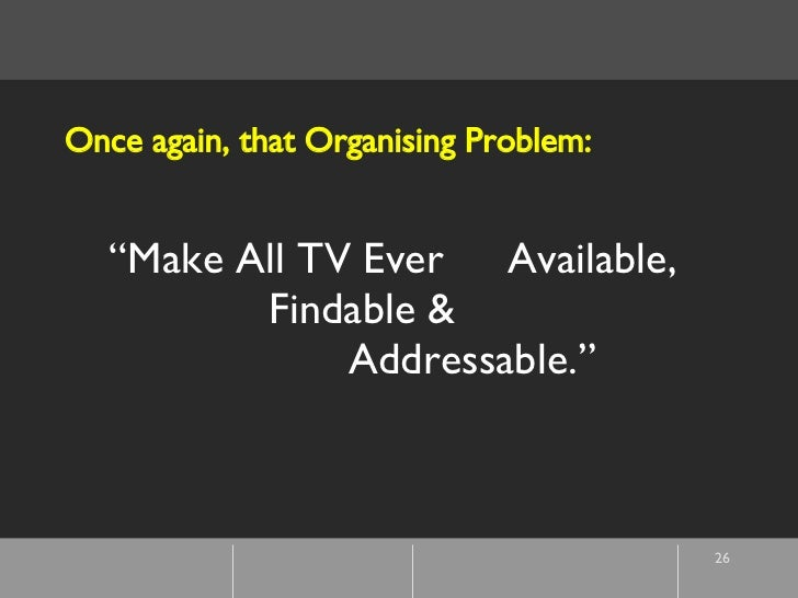 """"""" Make All TV Ever  Available,  Findable &  Addressable."""" Once again, that Organising Problem:"""