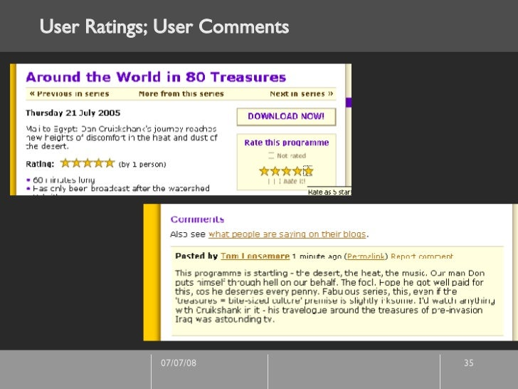 User Ratings; User Comments
