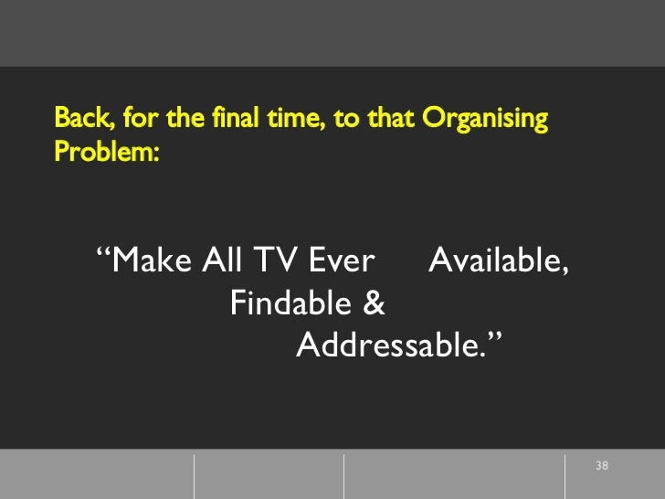 """"""" Make All TV Ever  Available,  Findable &  Addressable."""" Back, for the final time, to that Organising Problem:"""