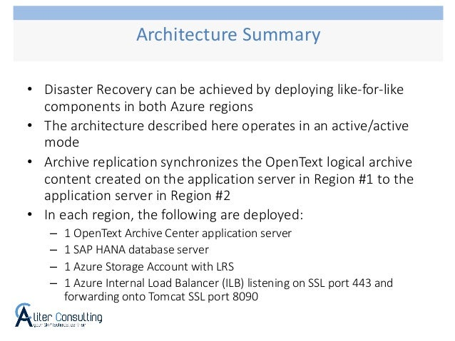 • Disaster Recovery can be achieved by deploying like-for-like components in both Azure regions • The architecture describ...