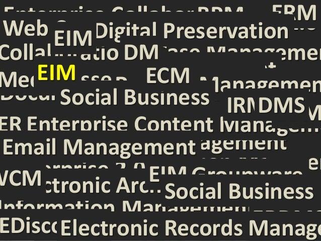 WHY? Enterprise Collaboration ERM Web EIMDigital Preservation        Content Management                             BPM   ...