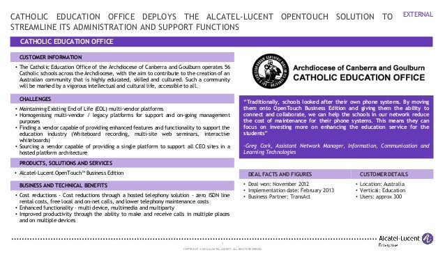 1 COPYRIGHT © 2013 ALCATEL-LUCENT. ALL RIGHTS RESERVED. EXTERNAL CATHOLIC EDUCATION OFFICE CATHOLIC EDUCATION OFFICE DEPLO...