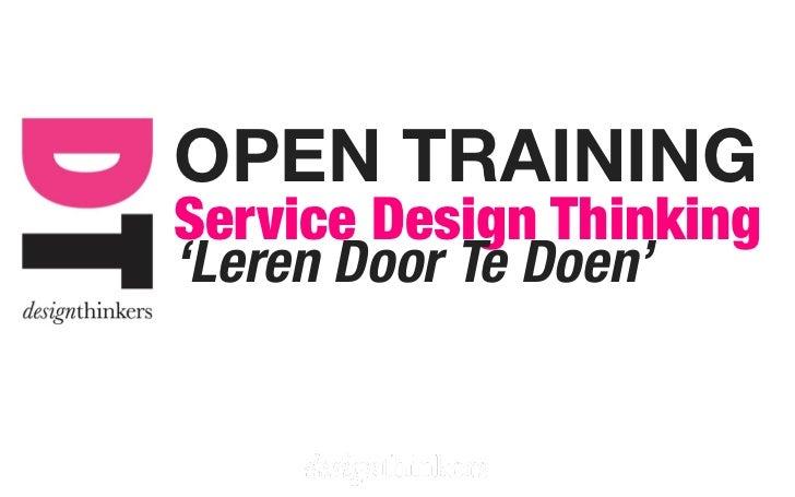 OPEN TRAININGService Design Thinking'Leren Door Te Doen'