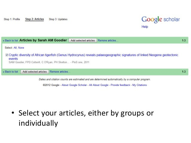 • Select your articles, either by groups or individually