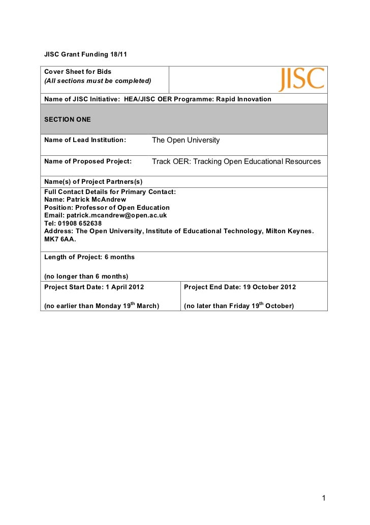JISC Grant Funding 18/11Cover Sheet for Bids(All sections must be completed)Name of JISC Initiative: HEA/JISC OER Programm...