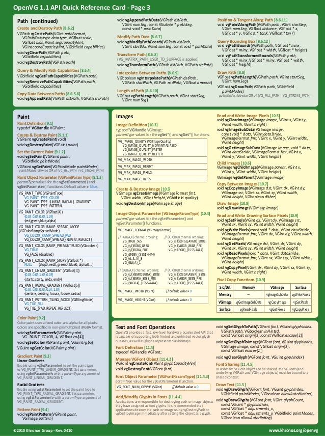 OpenVG 1.1 API Quick Reference Card - Page 3  Path (continued)  Create and Destroy Path [8.6.2]  VGPath vgCreatePath(VGint...