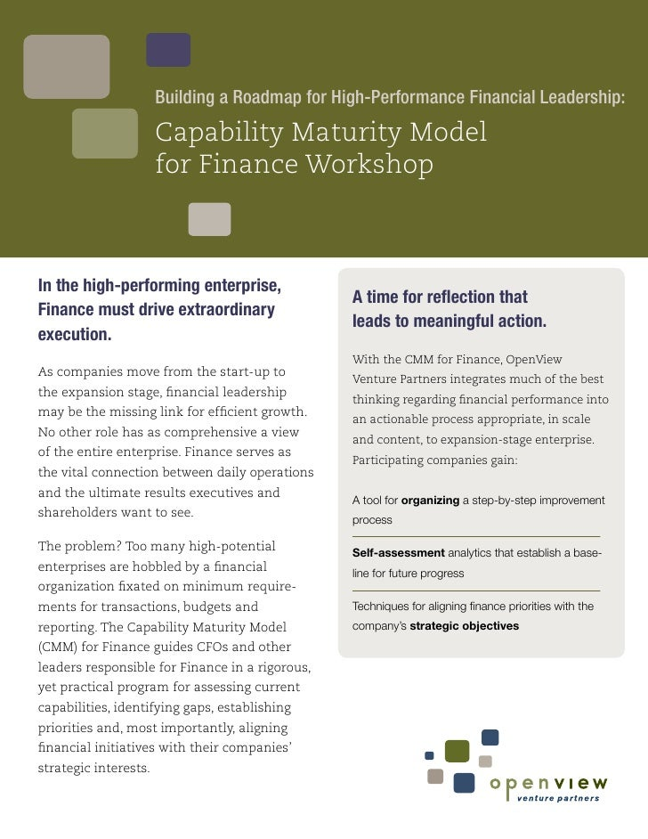 Building a Roadmap for High-Performance Financial Leadership:                        Capability Maturity Model            ...